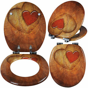 klodeckel toilettensitz wc sitz klobrille mdf holz absenkautomatik deckel ws2655 ebay. Black Bedroom Furniture Sets. Home Design Ideas