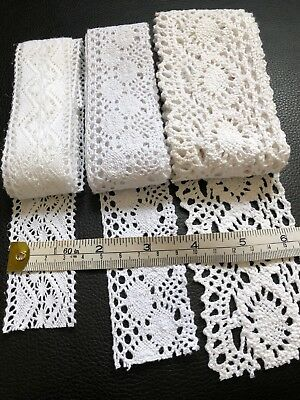 Job lot 4 Bundles White And Cream Lace Craft Sew  Lace Over 8 Metres
