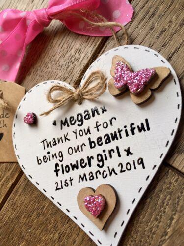 demoiselle d/'honneur souvenir Personnalisé merci Plaque Fleur Fille Cadeau