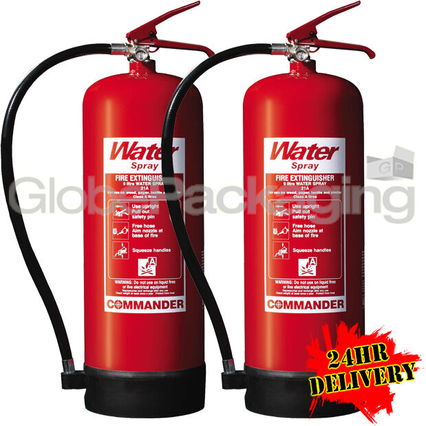 2 X 9 Litre Water Fire Extinguishers 9l Warehouse Office Workshop 24hrs