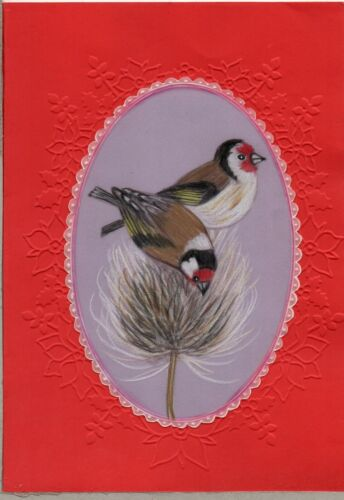 Handcrafted hand drawn Parchment Craft card pair of goldfinch birds on thistle