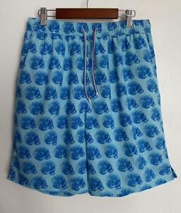 Peter-Millar-Mens-Swim-Trunks-Shorts-Seaside-Collection-Skulls-Shells-Blue-M