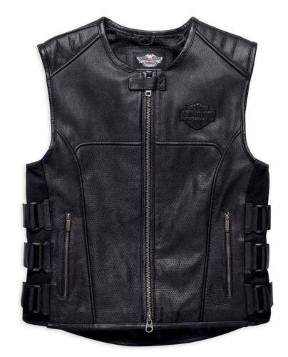 Harley Davidson Swat II Genuine Leather Vest Zippered Biker Cafe Racer Black