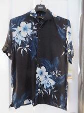 Mens Cubavera Shirt Black/Blue pattern Size small RRP $44 BNWT