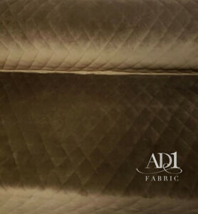 Quilted-velvet-brown-fabric-sold-by-yard-54-wide