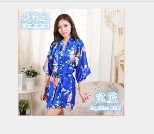 Women Flower Silk Satin Robes Bridal Wedding Bridesmaid Bride Gown Kimono Robe+