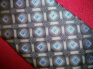 ROOSTER-Self-Tipped-Silk-Neck-Tie-Geometric-Gray-Silver-Blue-NEW