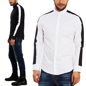 Camicia-uomo-bicolore-elegante-colletto-coreana-mao-slim-fit-TOOCOOL-CG-3029