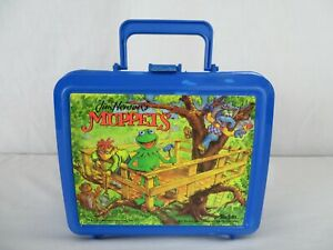 Jim-Hensons-Muppets-Blue-Plastic-Lunch-Box-Vintage