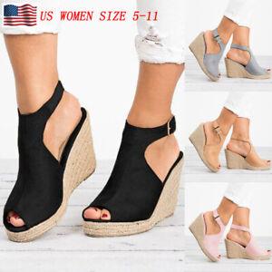 Womens-Wedges-Heel-Sandals-Casual-Straw-Platform-Peep-Toe-Ladies-Buckle-Shoes-US