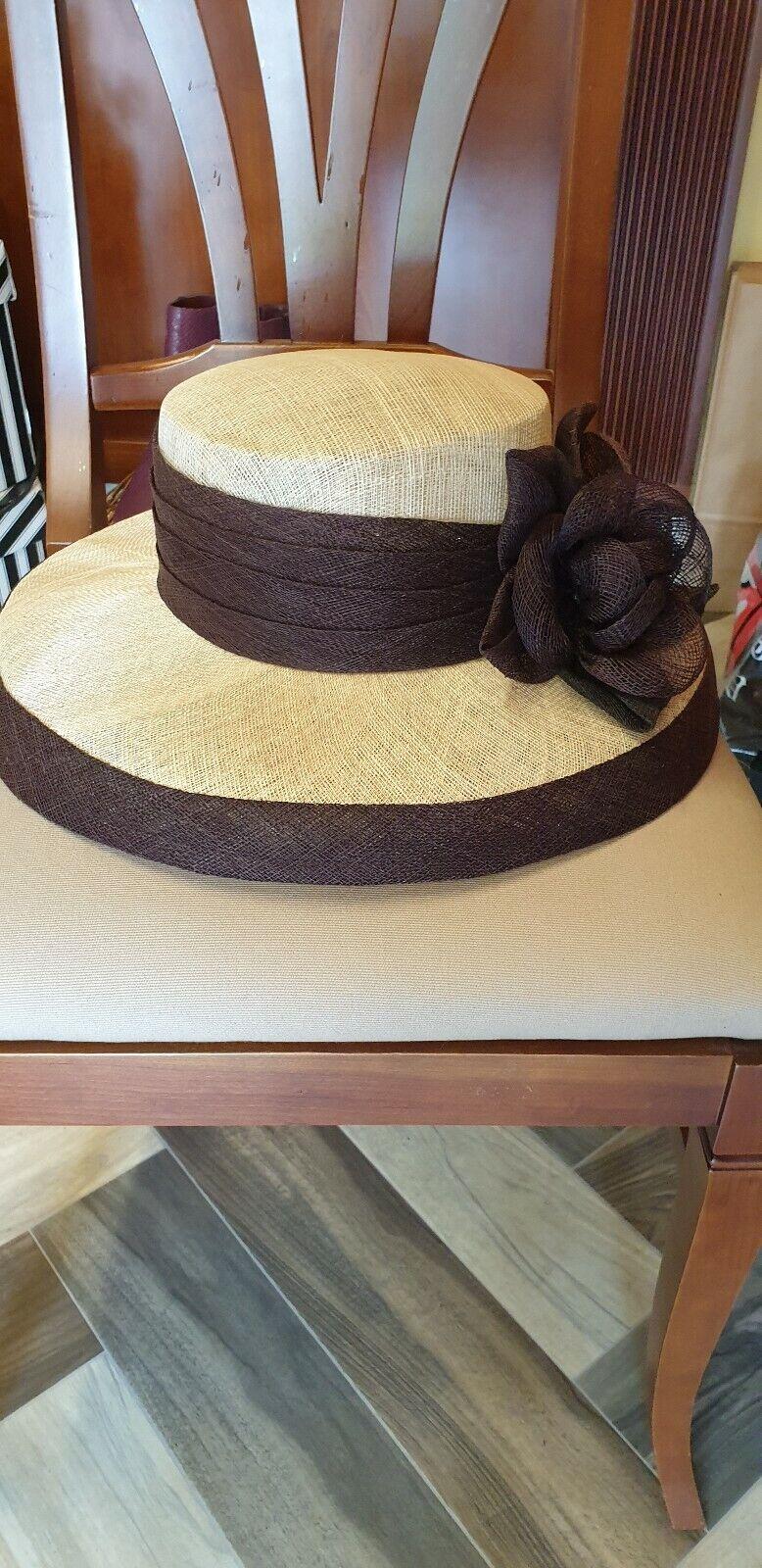 Ladies Wedding,Races, Formal Occasion Natural Fibres Hat Brown/Cream