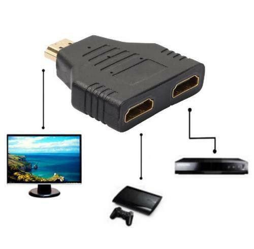 2IN1 HDMI Hub Verteiler Splitter Umschalter Buchse Mini Adapter Verlängerung NEU