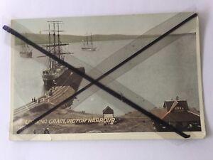 ANTIQUE-VINTAGE-OLD-COLOUR-POSTCARD-Loading-grain-Victor-Harbour-sailing-ships