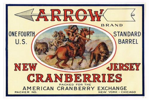 ORIGINAL 1930S NEW JERSEY CRANBERRY CRATE LABEL ARROW INDIAN CHICAGO NEW YORK