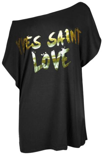 Femme Une Épaule Chauve-souris Yves Saint Love Or Feuille Baggy T Shirt Top