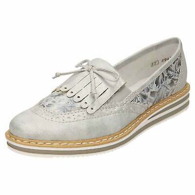 Rieker N0273 Slip On Shoes Leather Wedge Loafer