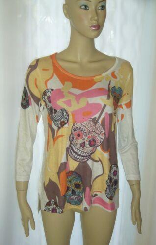 CREATEUR Chemise Longue Camouflage Shirt STRASS skull TETE DE MORT élasthanne S M L XL Neuf