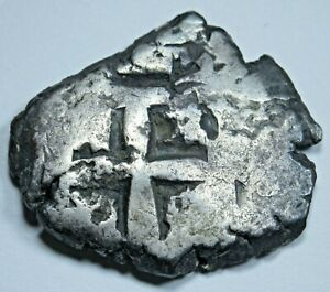 1757-Spanish-Silver-2-Reales-Cob-Antique-Colonial-Two-Bits-Pirate-Treasure-Coin