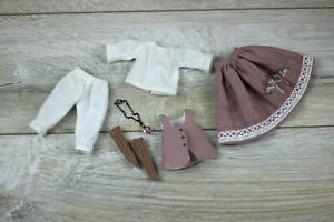 Blythe-doll-vest-skirt-dark-pink-socks-stockings-Blouse-Petticoats-white-clothes