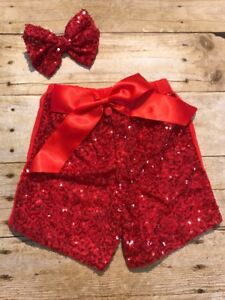 Girls Red Sequin Shorts With Matching Now Size 6-12 Months New boutique Sparkle