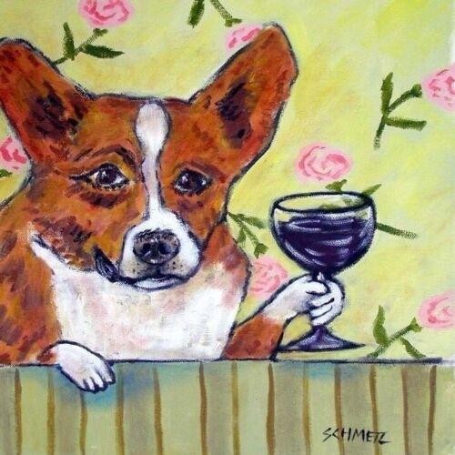 corgi WINE coaster ceramic gift DOG art tile picture