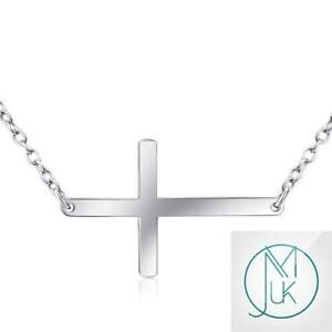 925 solid sterling silver horizontal sideways cross pendant chain image is loading 925 solid sterling silver horizontal sideways cross pendant mozeypictures Images