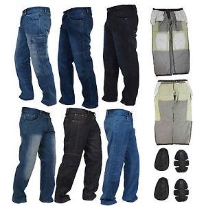 Para-Hombre-Moto-Jeans-Motocicleta-Denim-Pantalones-con-aramida-Protector-Forro