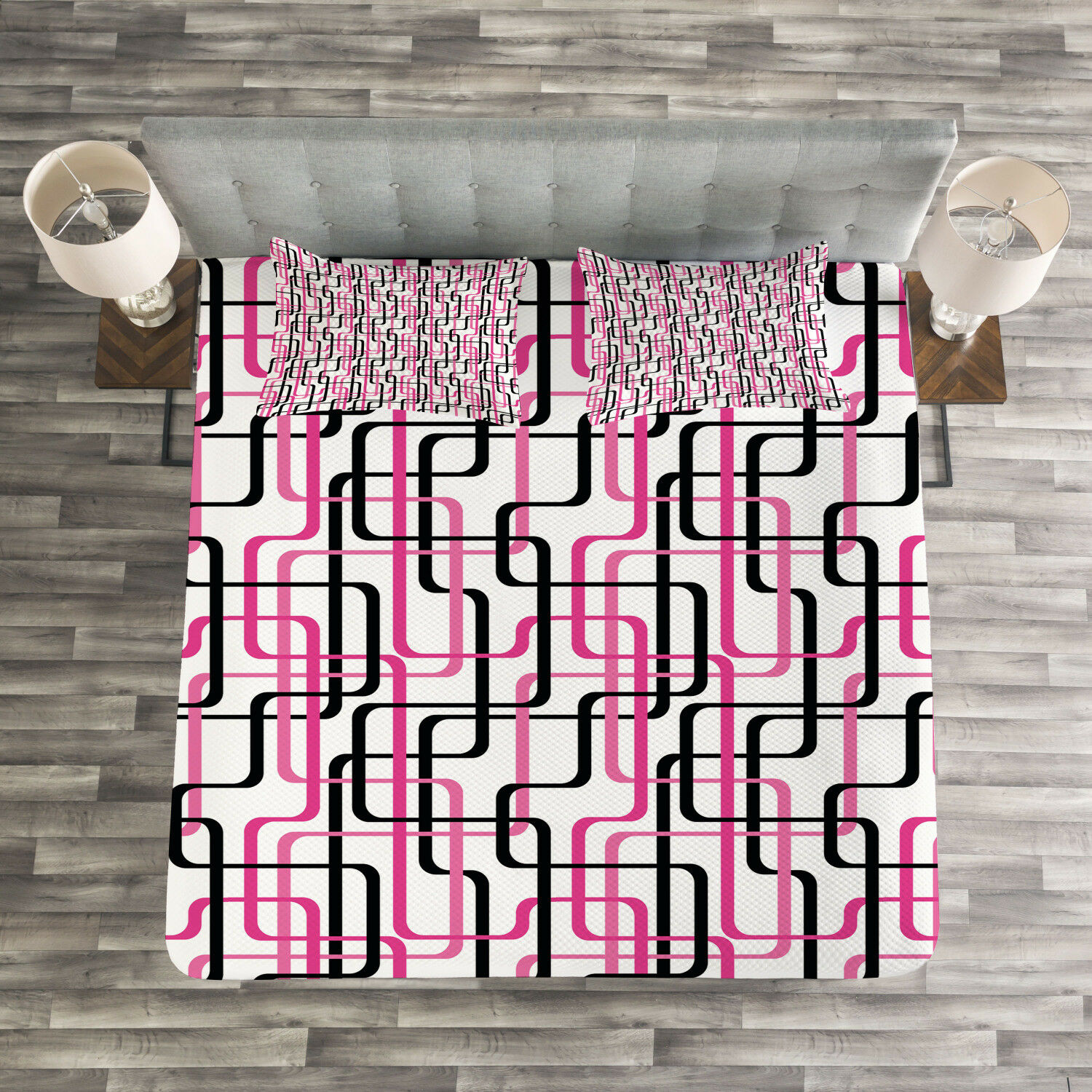 Geometric Quilted Bedspread & Pillow Shams Set, Wavy Lines Funky Print