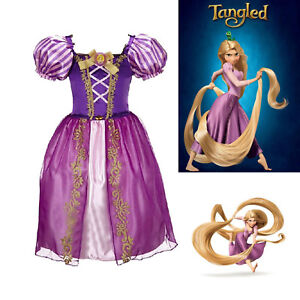 Girls-Fairytale-Princess-Tangle-Rapunzel-Fancy-Dress-Kids-Party-Outfit-Costume