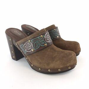 Scholl-UK6-Marron-Cuero-Suede-Slip-On-Suecos-Mulas-Zapato-Sandalia-Tacones-De-Madera-Floral