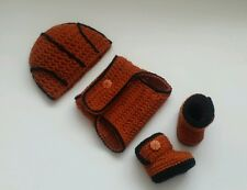 NEW Newborn Baby Boy Basketball Hat Diaper Cover and Booties Crochet Photo Prop