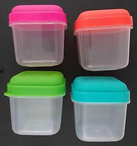 SNACK CONTAINERS W SNAP ON NEON COLOR LIDS Reusable Storage 36 Oz 4