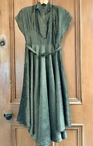 PACIFIC-FASHIONS-S10-Vintage-50s-Olive-Green-Shantung-Silk-Full-Circle-Dress