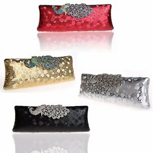 68799952a12 WOMENS HARD CASE CLUTCH BAG WEDDING PARTY WORK PEACOCK BLACK RED ...