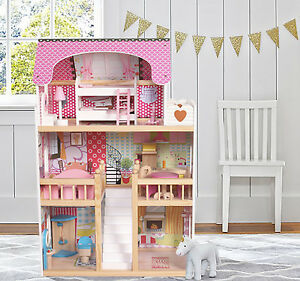 Wooden Kids Doll House With 17pcs Furniture Staircase Barbie