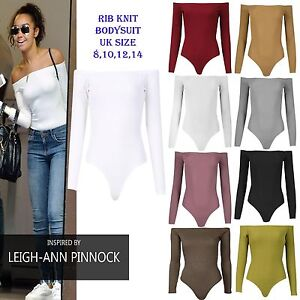 69355c0b54 New Womens Off The Shoulder Bodysuit Ladies Ribbed Knit Long Sleeve ...