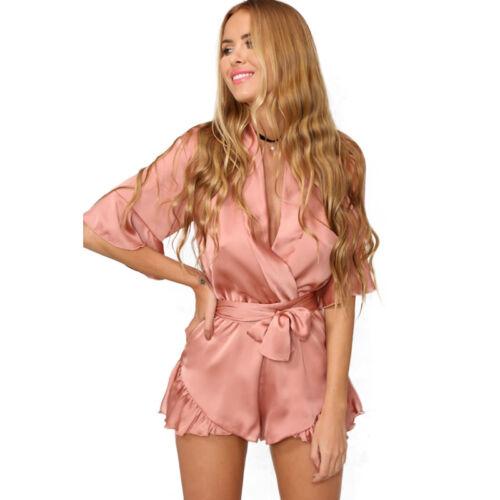 US Women Floral Summer Holiday Jumpsuit Playsuit Romper Mini Dress Shorts Pants