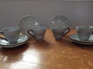 Wedgwood-Windsor-Grey-maroon-handle-demitasse-can-cup-amp-saucer-TEN-pieces