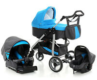 Baby Travel System Blue Pram Pushchair 3in1 Child Stroller Car Seat - 6 Colours