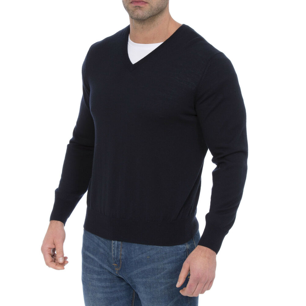 Alan Paine Millbreck Laine Merino Col En V Pull Col Taille 44 - Secondes