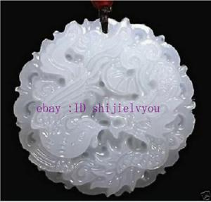 显示原刊登标题 详情 纯天然手工雕刻的中国玉吊坠-龙凤 自然
