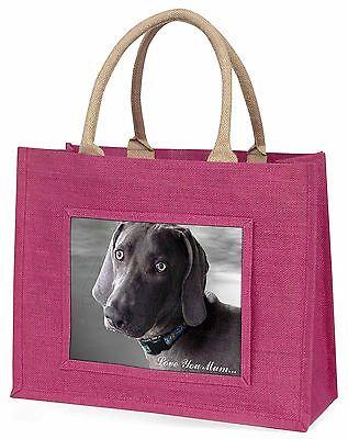 Weimaraner Hund 'Liebe, die Sie Mama' Große Rosa Einkaufstasche Weihnachten Pr,