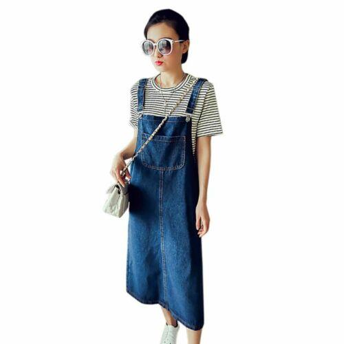 Women Ladies Denim Jean Dress Pinafore Bib Dungaree A Line Suspender Skirt UK