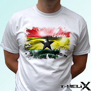 Ghana-Bianco-T-Shirt-Flag-TOP-paese-africano-DESIGN-LINEA-UOMO-DONNA-Kids-Baby