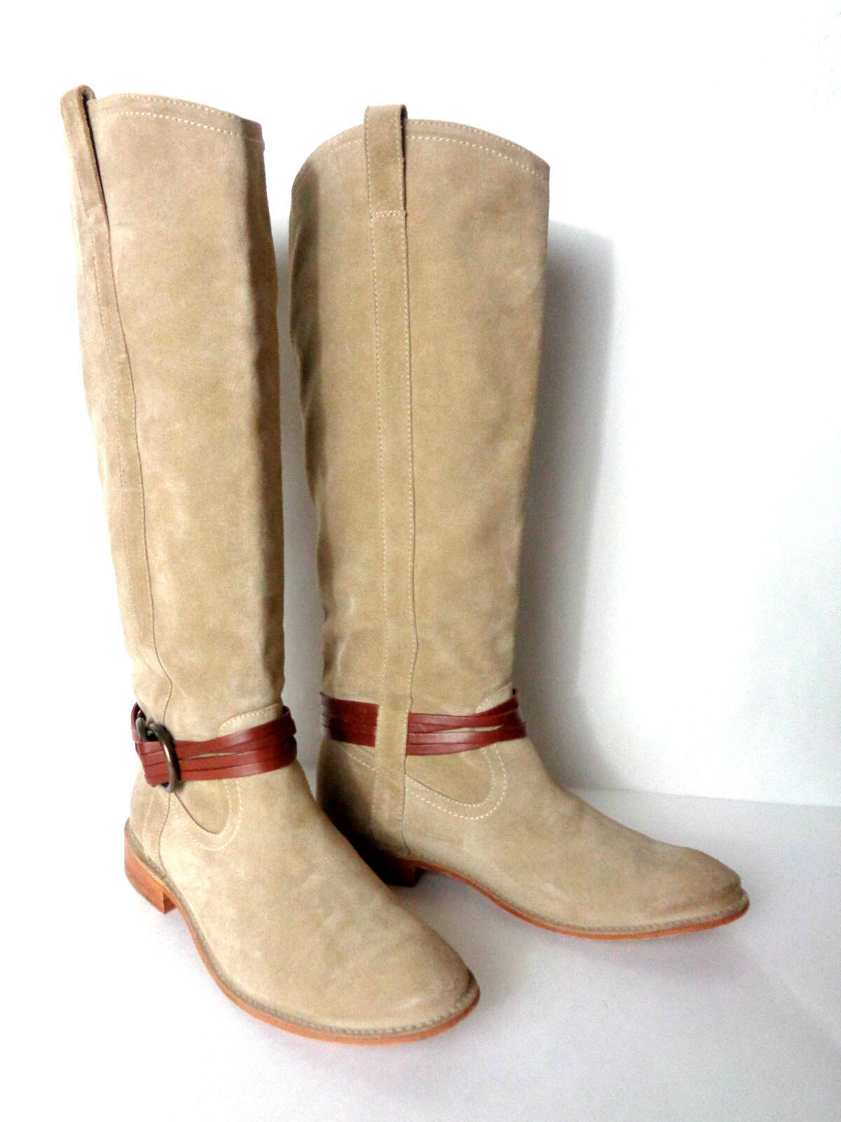 FRYE US 8.5M Shirley Plate Boots Tall 4003 Sand Brown Suede Leather Pull On