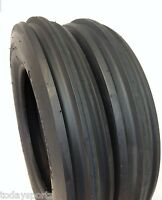 Two 5.00-15 Tractor Tires 5.00x15, 3 Rib F2 Tractor Farm 2 Tires 500-15