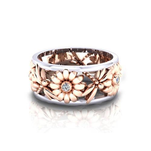Women Sunflower Rose Gold Plated Zircon Ring Wedding Jewelry SA