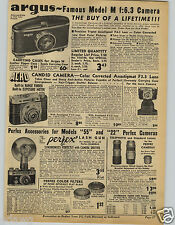 1941 PAPER AD Camera Argus Acro Perfex Lense Agfa Ansco Cadet Shur Shot Flash