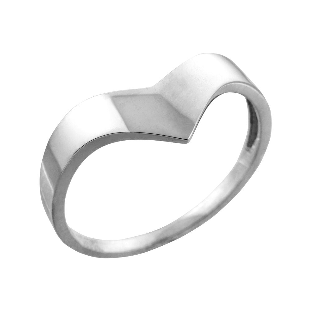 Fine Solid 10k White gold Chevron Ring for Ladies Women