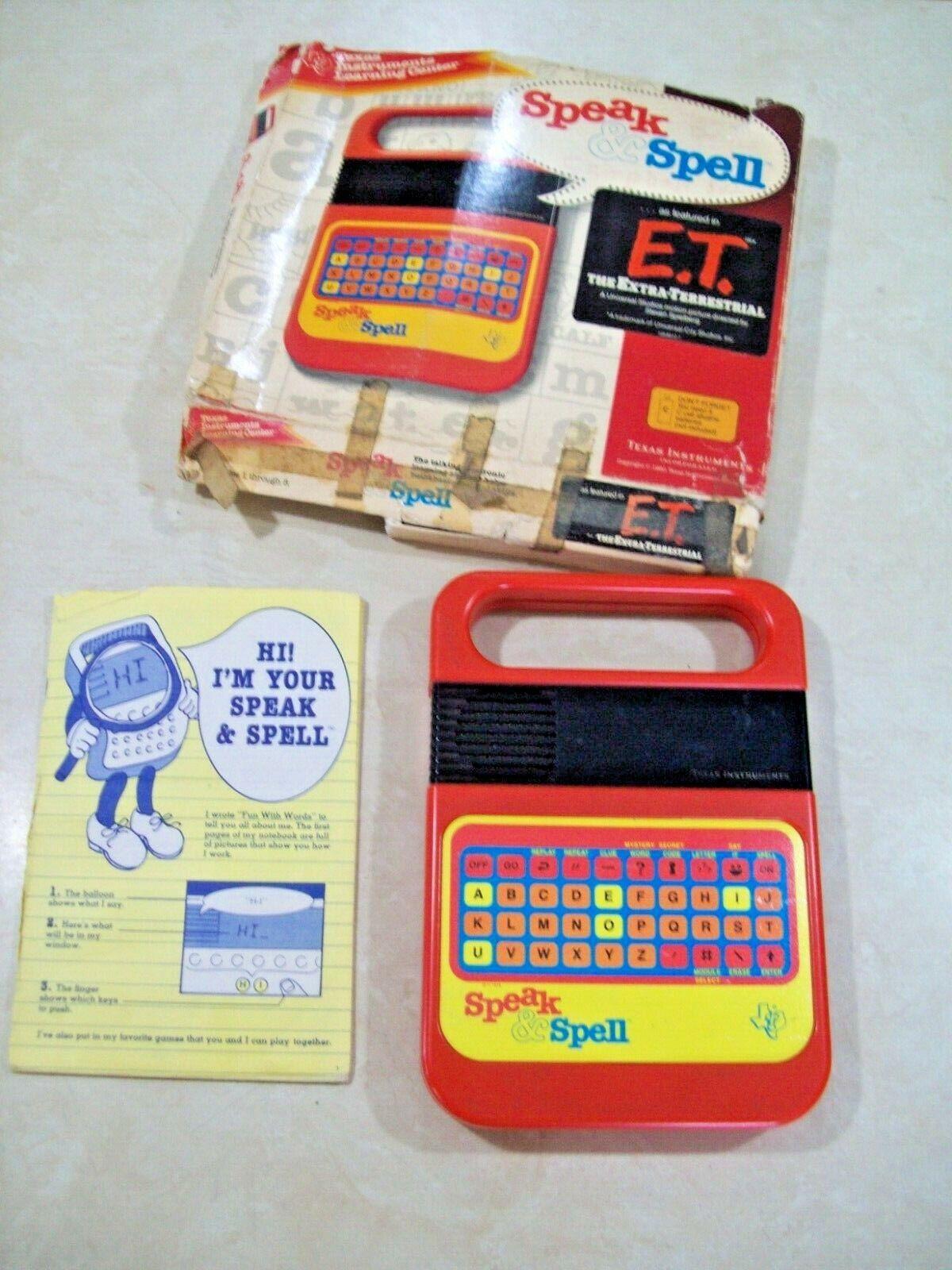 Vintage 1978-1980 Speak & Spell con caja y libro-Probado Funciona